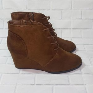 NWT American Rag Faux Suede Ankle Wedge Boots